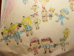Featuring many of her favorites, clockwise: Madeline girls on the left, Powerpuff Girls, Pocoyo, and Jake and the Never Land Pirates