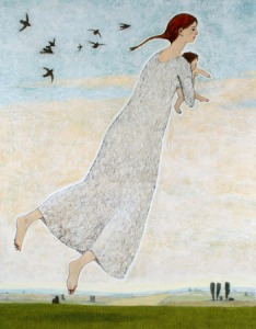 Woman with Infant Flying - Brian Kershisnik