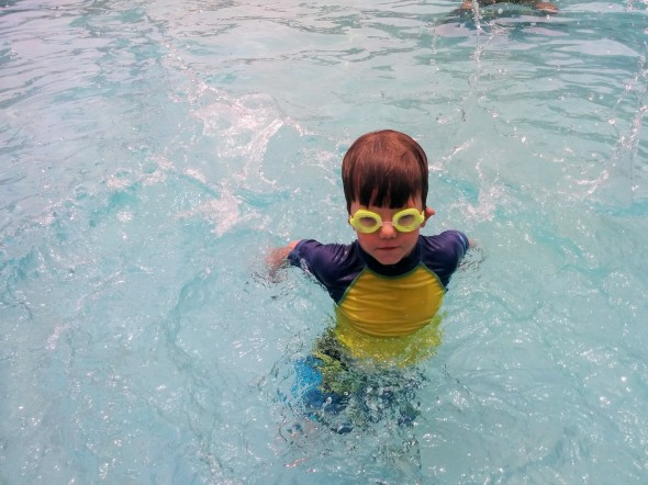 We could not keep goggle boy out of the water